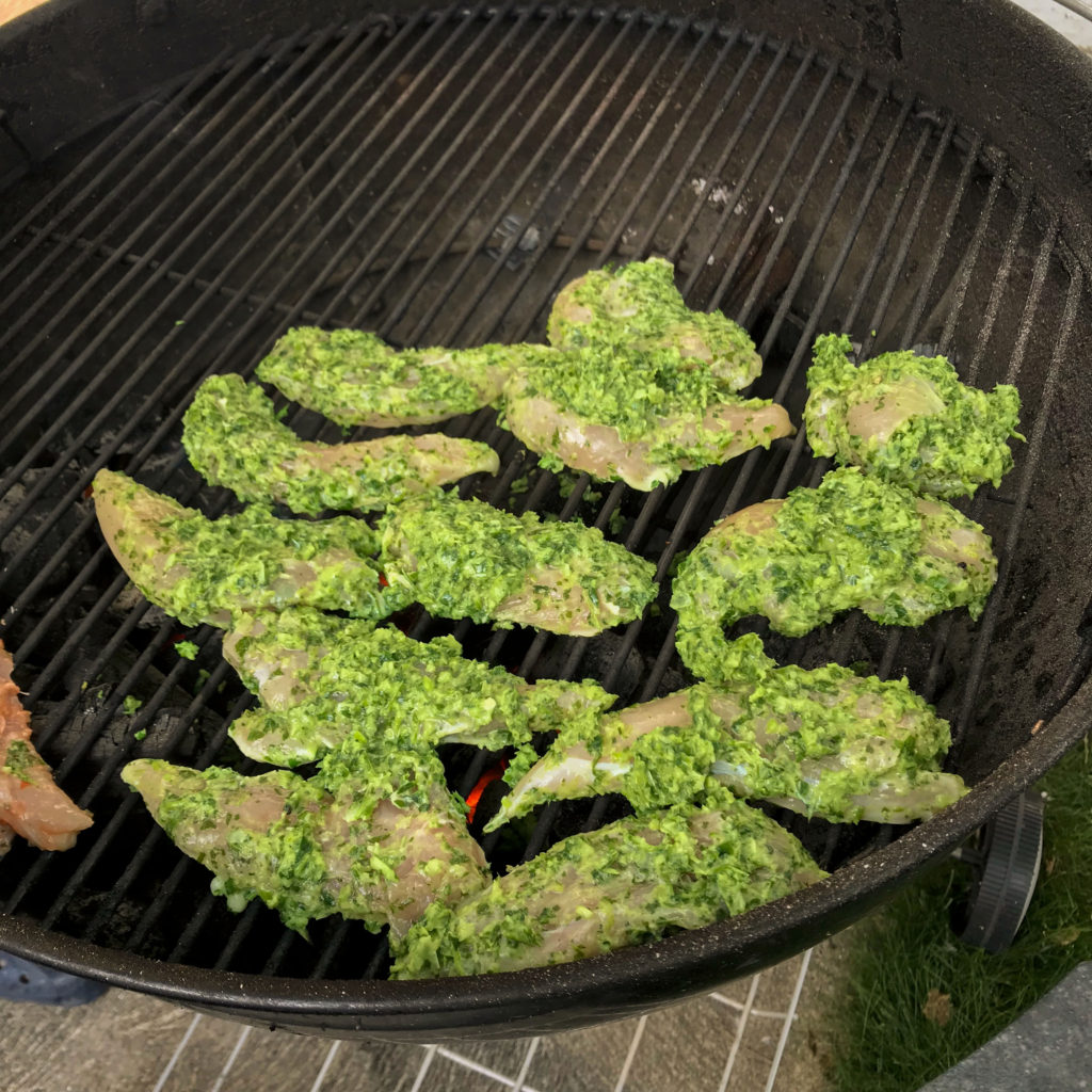 Chimichurri chicken grilling